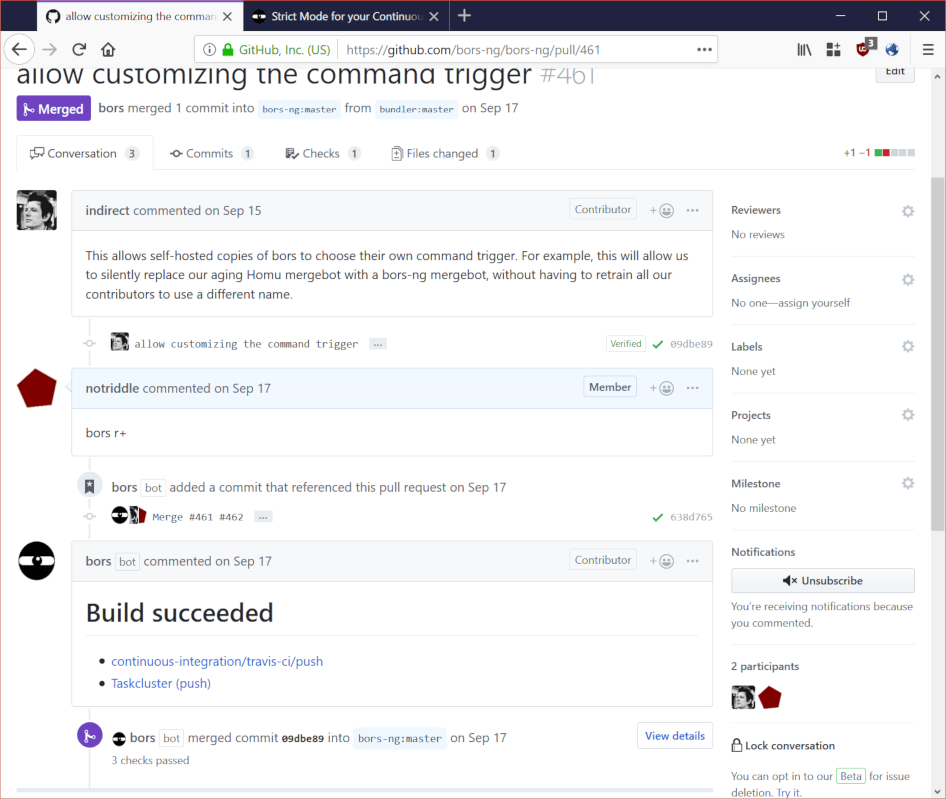 Here's an example pull request.